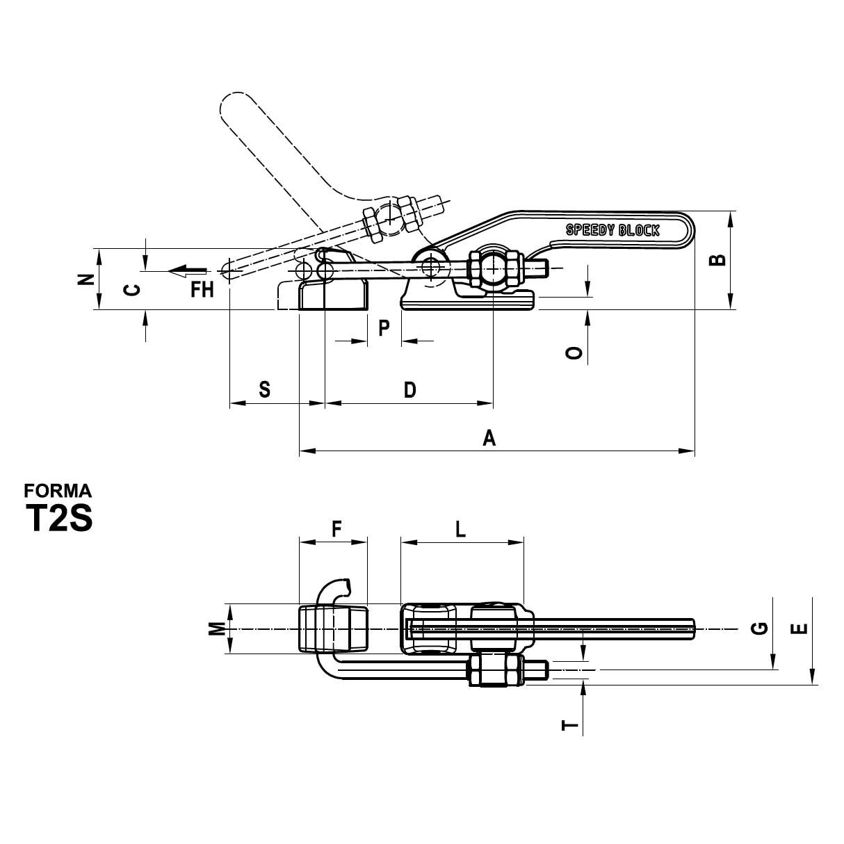 Stainless Steel Series Toggle Clamp Form T2s Heavy Weldable Resistance Welding Block Diagram View Technical Drawing